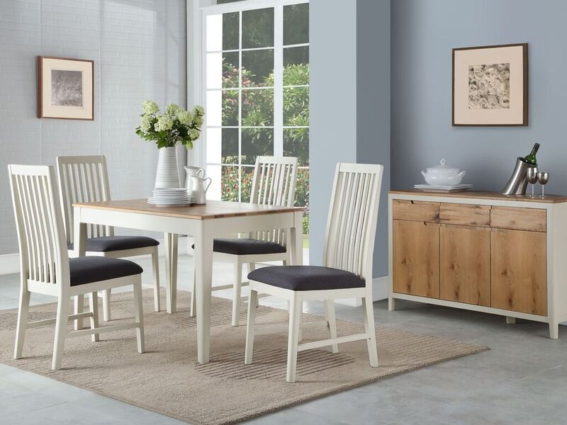 Fantastic Dunmoor Oak And Painted White Dining Set Beutiful Home Inspiration Xortanetmahrainfo