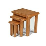 e wood nest of 3 tables