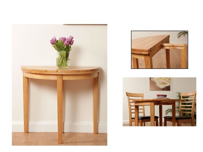 Popular hanover half moon dining table available in light or dark colour PG65