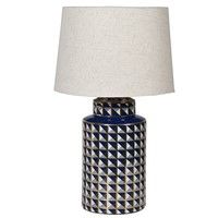 patterned blue/gold lamp with shade