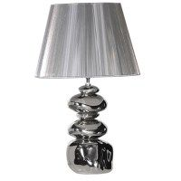 "silver stack lamp and shade  ""60cm high"""
